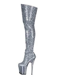 Botas sexys para mujer, punta redonda, cremallera, tacón de aguja, Rave Club, botas altas de muslo de plata, zapatos de stripper