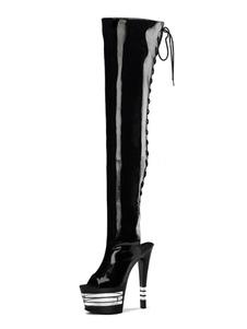 Stivali sexy con tacchi alti Peep Toe con lacci Tacco a spillo Rave Club Stivali alti con coscia neri Scarpe spogliarelliste