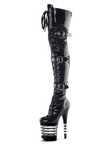 المرأة مثير أحذية جولة تو الرباط حتى إبزيم المخروط كعب الهذيان النادي الأسود الفخذ أحذية عالية المتعرية الأحذية