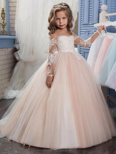 Flower Girl Dresses Jewel Pescoço Mangas Compridas Lace Formal Kids Pageant Vestidos