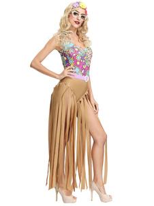 Costume Carnevale Costume da donna anni '70 Costumi retrò Copricapo Abito con frange Costumi di Halloween Hippies