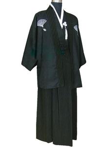 Trajes japoneses do homem trajes de Samurai terno trajes de férias de algodão preto