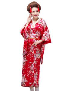 المرأة اليابانية ازياء الأزياء طباعة الأزهار الحرير الأعياد