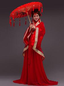 أزياء المرأة الصينية الشيفون الترتر زهرة هان سلالة العطل ازياء