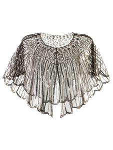 Disfraz Carnaval Gran accesorio de lentejuelas Gatsby de los años 20, aleta, capa, champaña, accesorios de vestuario retro Carnaval