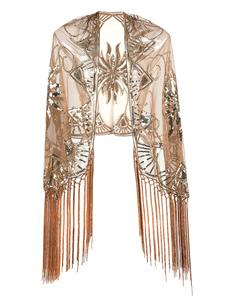 Disfraz Carnaval Flapper Dress Shawl Fringe Beaded Lequin 1920s Gran accesorio Gatsby Accesorios para disfraces retro Carnaval