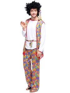 1970-х годов костюм мужской ретро костюмы белый бахромой с длинным рукавом жилет хиппи хеллоуин костюм