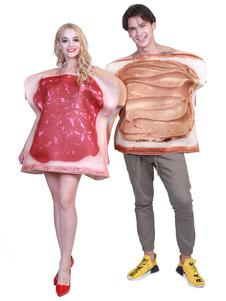 Костюмы для пары Хэллоуин сэндвич Белый Взрослый Марди Гра Продовольственный костюм