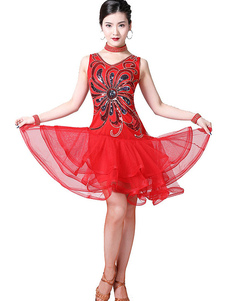 زي الرقص اللاتينية الترتر زهرة المتدرج تول الرقص الراقصة اللاتينية ارتداء