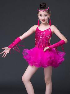 زي الرقص اللاتينية هامش الترتر ليكرا اللباس الرقص ارتداء للبنات