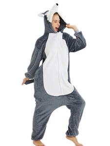 Пижамка Kigurumi Onesie Huskie Серый фланелевый костюм для взрослых Легкий туалетный комбинезон Kigurumi Костюмы