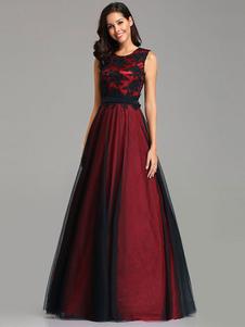 Mãe do vestido de noiva 2020 A linha de jóias Neck Lace mangas de cetim rendas até o chão vestido de festa Formal
