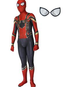 Carnevale Spider-Man Cosplay Spider Man Red Film Lycra Spandex Tuta Body Marvel Comics