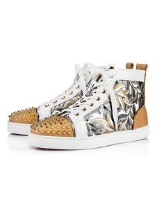 أحذية رجالية عادية الأبيض جولة تو المسامير الفني الدانتيل يصل أحذية رجالية