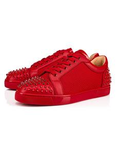 Sapatos casuais para homem Red Rodada Toe Rivets Lace Up Shoes