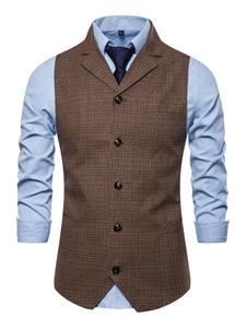Мужские платья жилеты свадьба британский стиль отложным воротником пуговицы кофе коричневый
