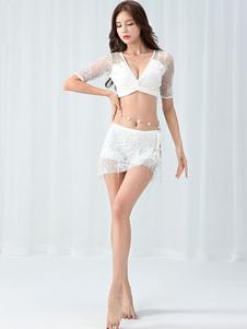 ダンス 衣装 ホワイト ベリーダンス衣装 大人用 社交ダンス衣装 パンティ トップス スカート 女性用 レース
