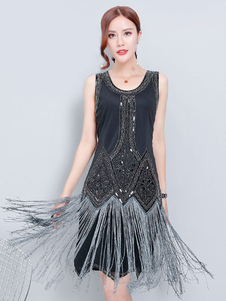 Vestidos años 20 negro  Charleston disfraz de elastano de marca LYCRA de flapper para vuelta al cole para mujer con vestido DISFRACES