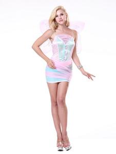 ملاك هالوين ازياء الوردي البسيطة اللباس أجنحة زهرة المرأة العطل ازياء