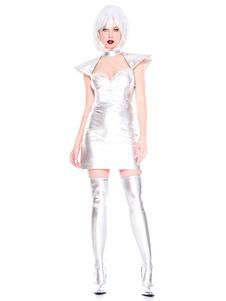 Костюмы Хэллоуина Звездных войн Серебряное Платье Металлические Праздники Костюмы Чужих Для Женщин