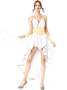 Греческая Богиня Хеллоуин Костюмы Рябить Высокий Низкий Белое Женское Платье Mardi Gras Праздничные Костюмы