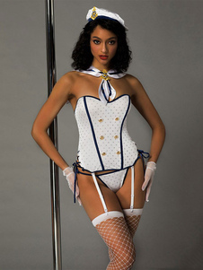 Disfraz Carnaval Disfraz de marinero sexy de lunares con doble botonadura, blanco, 6 piezas, conjunto de mujeres Carnaval