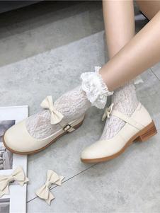 Lolita Doce Calçado Preto Botões Arcos Lolita Sapatos