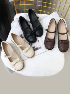 Doce Lolita Calçado Preto Arcos Botões Lolita Sapatos