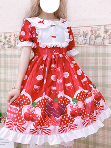 Doce Lolita OP Vestido Impresso Red Bows Ruffles Lolita Vestidos De Uma Peça
