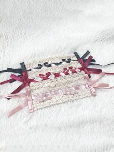 الحلو لوليتا زينة الوردي الرباط البوليستر الألياف أغطية الرأس القوس متنوعة