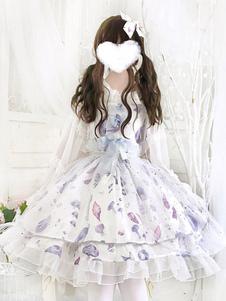 Сладкая Лолита JSK Dress Aurelia Печатные Банты Белые Юбки Лолиты Джемпер