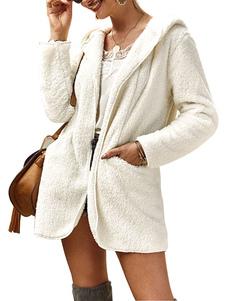 Casaco de pelúcia com capuz de mangas compridas Casaco de lã Casaco de inverno com fecho completo