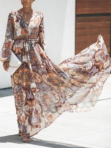 Vestido largo Marrón Moda Mujer con manga larga de chifón Vestidos con estampado con cuello en V estilo bohemio Primavera Otoño