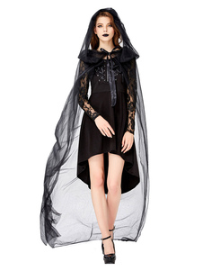 Trajes de halloween demônio mulher negra vestido de renda manto de tule trajes de festas de halloween