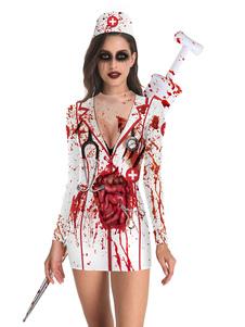 Disfraz Carnaval Disfraces de Halloween Disfraces de fiesta de bodycon de Halloween de impresión en 3D de poliéster blanco para adultos Disfraces de Halloween Carnaval