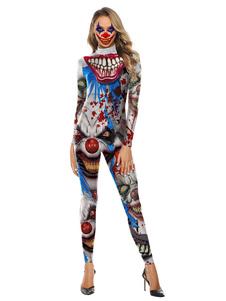 Trajes de Halloween Cinza Claro Mulheres Collant Macacão Assustador de Poliéster 3D Impressão Macacão Feriados Trajes