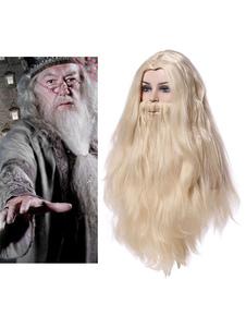Carnaval Harry Potter Cosplay Marfil Peluca Albus Dumbledore Fiber Film Barba Cosplay Pelucas