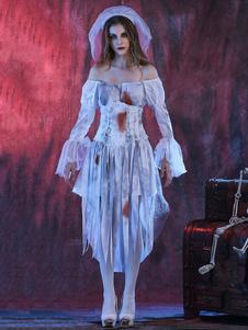 Disfraz Carnaval Disfraces de Halloween de vampiro Vestido de velo blanco Disfraces de vacaciones de mujer apenada Carnaval