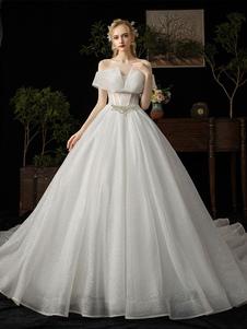 Vestido de novia del vestido de bola 2020 Princesa Silueta Catedral Tren Fuera del hombro Mangas cortas Cintura natural Con cuentas Vestidos de novia con lentejuelas
