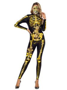 هالوين ازياء الكبار الذهب الأسود الطباعة 3D مخيف يوتار بذلة البوليستر هالوين ازياء بذلة العطل