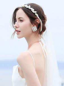 Headpiece casamento headwear pérola folha metal nupcial acessórios para o cabelo