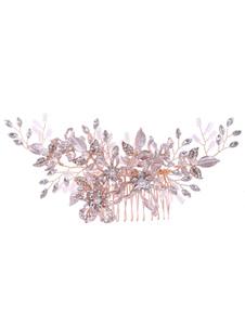 Accesorios para el cabello de metal de flor de peine de boda para la novia