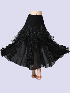 Trajes de dança de salão Lantejoulas de seda leite preto babados saia longa dançarina de salão vestido de dança