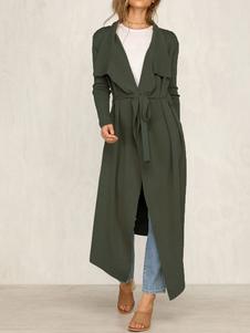 Cappotto avvolgente casual asimmetrico da donna con collo alla rovescia