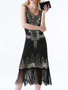 Черные платья-заслонки Геометрические блестки с бахромой 1920-х годов Большой костюм Гэтсби Ретро костюм