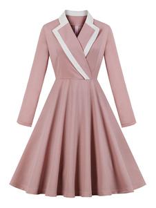 Vestido vintage rosa 1950 colar de abertura de cama mangas compridas mulheres na altura do joelho vestido de balanço