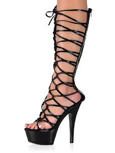 Stivali sexy da donna Stivaletti neri con punta aperta con cerniera e tacco a spillo