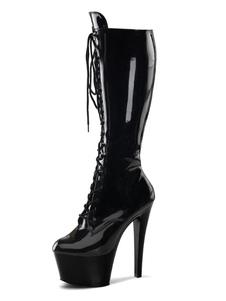 Stivali sexy da donna Stivaletti neri con punta arrotondata e tacco a spillo con tacco a spillo