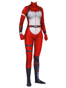 Carnevale Costumi Cosplay Fortnite Red Fortnite Game Body Body Tuta Red Nosed Raider Lycra Spandex Adulti Gioco Costumi Cosplay