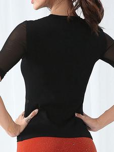 As mulheres superiores semi completas lisas do tule Latin do traje da dança que desgastam o desgaste